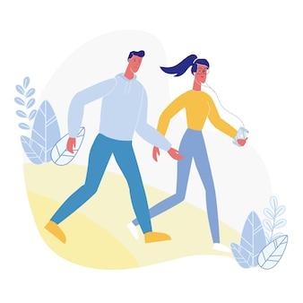 Jeune couple, marche, plat, illustration