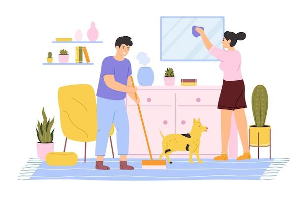 Jeune couple, nettoyage, et, lavage maison