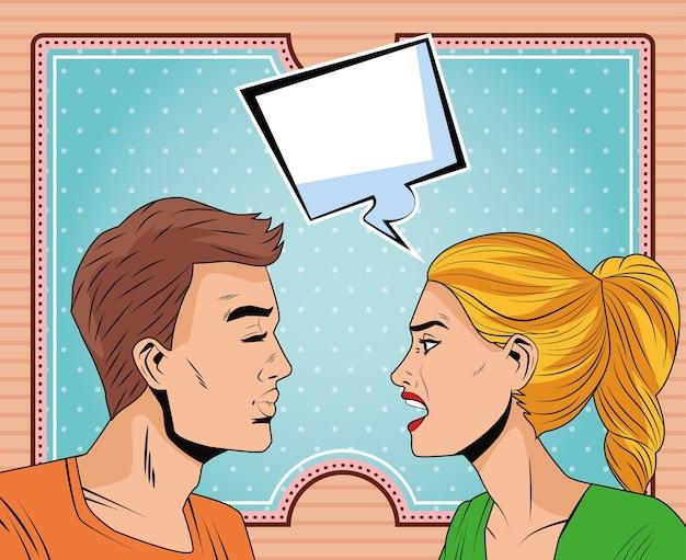 Jeune couple parlant des personnages de style pop art