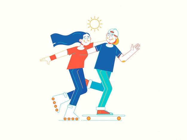 Jeune couple, patins à roulettes, dans parc