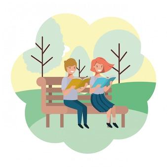 Jeune couple en personnage d'avatar de chaise de parc