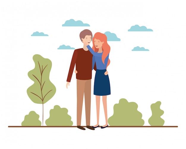 Jeune couple avec personnage avatar de paysage