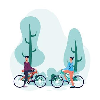 Jeune couple en personnages de bicyclette