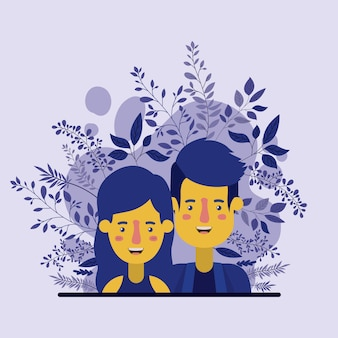 Jeune couple avec des personnages de décoration de feuilles