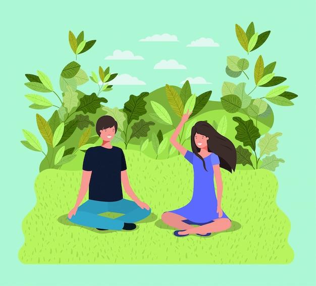 Jeune couple sur les personnages du parc
