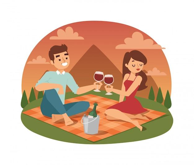 Jeune couple pique-nique été