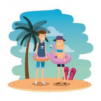 Jeune Couple Sur La Plage D'été Vecteur Premium