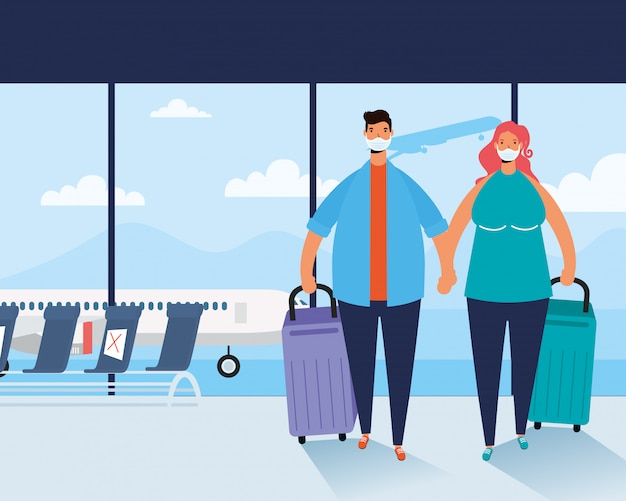 Jeune couple, porter, masques médicaux, à, valises