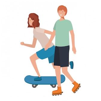 Jeune couple pratiquant un personnage d'avatar sportif