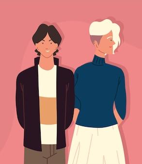 Jeune couple relation ensemble dessin animé