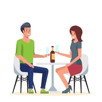 Jeune couple en rendez-vous romantique au café.