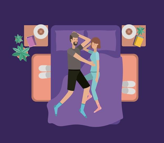 Jeune couple reposant sur la chambre