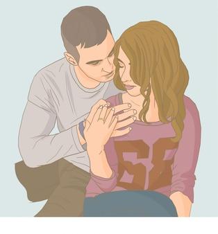 Jeune couple romantique