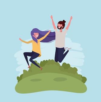 Jeune couple, sauter, célébrer, caractères, parc