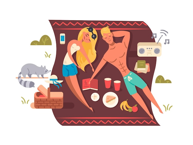 Jeune couple se trouve sur une couverture avec de la musique et de la nourriture. pique-nique dans le parc naturel. illustration vectorielle