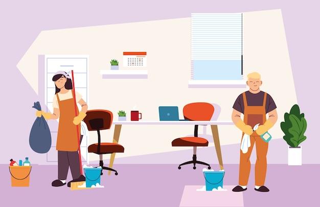 Jeune couple avec service de nettoyage en conception d'illustration de bureau