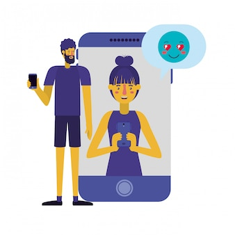 Jeune couple avec smartphone avec bulle de dialogue