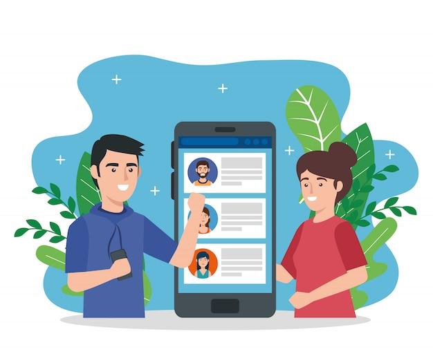 Jeune couple et smartphone avec chat