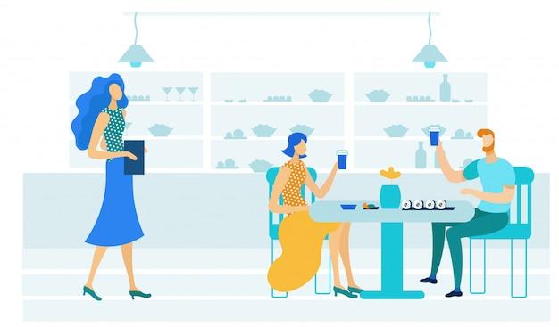 Jeune couple, sushi bar, plat, illustration