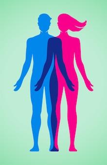 Jeune couple tenant ensemble dans une harmonie illustration vectorielle de relations sexuelles réussies concept