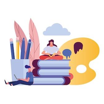 Jeune couple, utilisation, ordinateur portable, et, livre lecture, création, caractères, illustration, conception