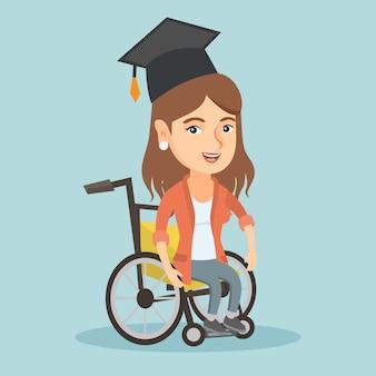 Jeune diplômé caucasien assis en fauteuil roulant.