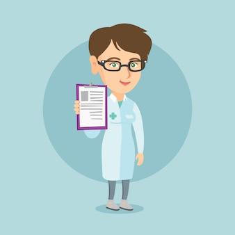 Jeune docteur caucasien avec un presse-papier.