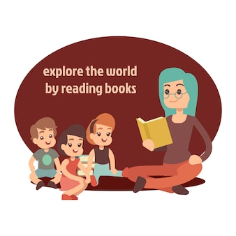 Jeune enseignant et livre de lecture d'enfants heureux