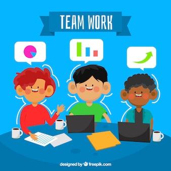 Jeune équipe de travail