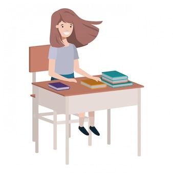 Jeune étudiante assise sur un banc d'école