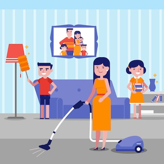 Jeune famille caucasienne blanche heureuse nettoyage maison.
