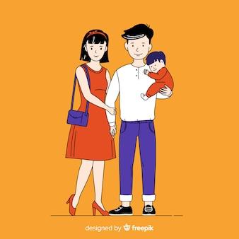 Jeune famille dans un style de dessin coréen