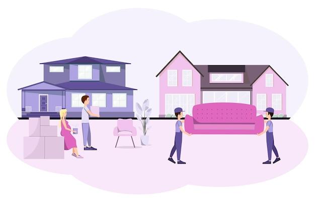 Une jeune famille emménage dans une nouvelle maison