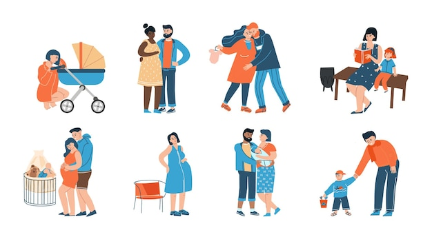 Jeune famille. heureux père, mère et leurs personnages de dessins animés pour enfants, parents en période de grossesse. vector illustration isolé accouchement et maternité, couples avec enfants