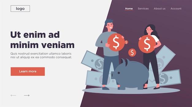 Jeune famille investir de l'argent pour la future illustration vectorielle plane