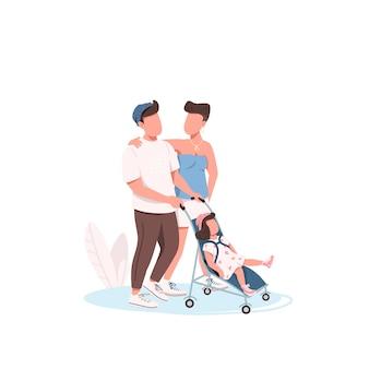 Jeune famille marchant personnages sans visage couleur plat