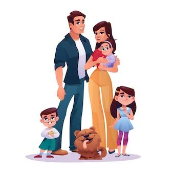 Jeune famille mère père garçon et fille d'âge préscolaire bébé nouveau-né et chien animal de compagnie