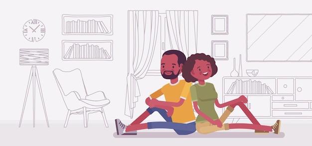Jeune famille noire rêvant de sa propre maison
