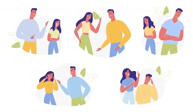 Jeune famille se disputent et ne jurent que des relations humaines