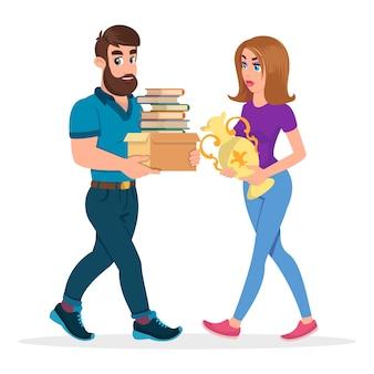 Jeune famille se préparant à déménager ou à aider des amis