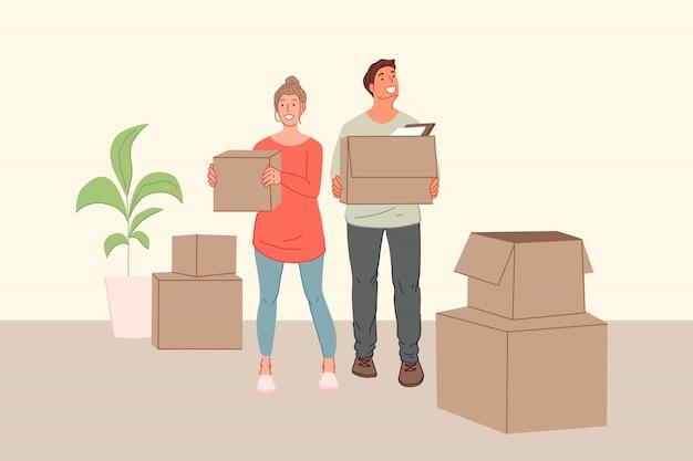 Jeune famille, voisin, réaménagement, déménagement dans une nouvelle maison, concept de cohabitation.