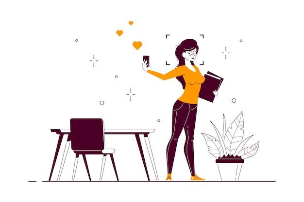 Jeune femme d'affaires faisant selfie avec smartphone, illustration d'art de ligne de style plat