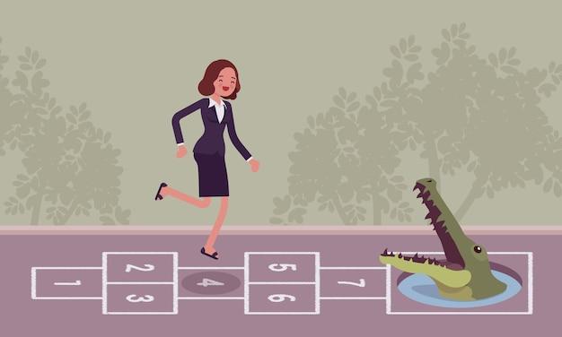 Jeune femme d'affaires insouciante jouant à la marelle, crocodile à l'avant