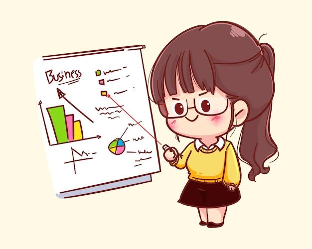 Jeune femme d'affaires montrant l'illustration de dessin animé de présentateur tableau blanc