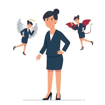 Jeune femme d'affaires avec le personnage d'ange et de démon