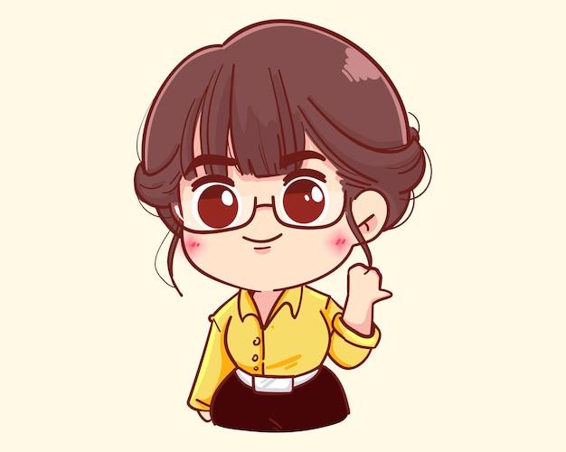 Jeune femme d'affaires pointe avec illustration de dessin animé de pouce