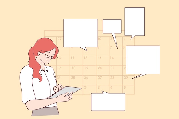 Jeune femme d'affaires positive planification de la journée de planification de rendez-vous dans le calendrier, l'envoi de messages, l'ajout d'un événement, la mise de rappels dans la tablette