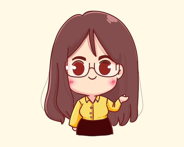 Jeune femme d'affaires présentant quelque chose avec son illustration de dessin animé de main