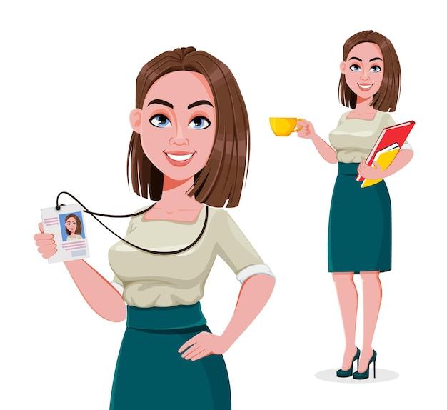 Jeune femme d'affaires prospère ensemble de deux poses