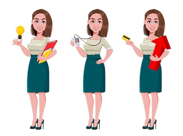 Jeune femme d'affaires prospère, ensemble de trois poses. personnage de dessin animé mignon de femme d'affaires